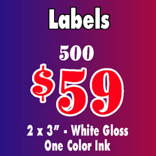 Special on labels: 500 labels for $59 - 2 x 3